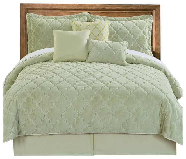 BNF Home Ogee Faux Fur Embroidered 7 Piece Bed Spread Set - Quilts And Quilt Sets