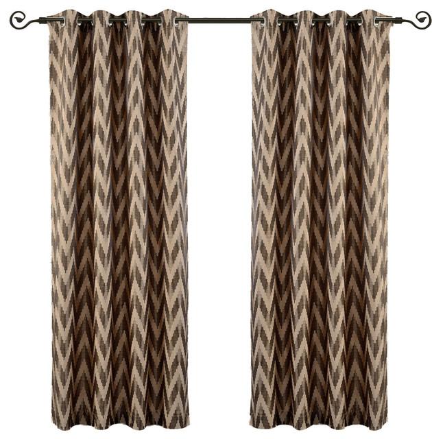 "Lisette Chevron Top Grommet Window Curtains, Set Of 2, Mocha, 108""x63""."