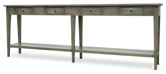 Provencale Rustic Lodge 4 Drawer Pine Console Table.