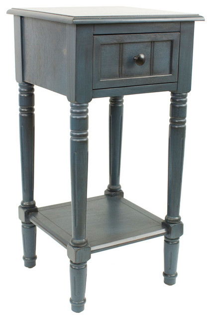 Decor therapy simplify 1 drawer square accent table - Antique side tables for living room ...