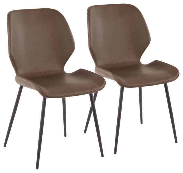 Lumisource Serena Industrial Chair in Black Metal / Brown Faux Leather Set of 2