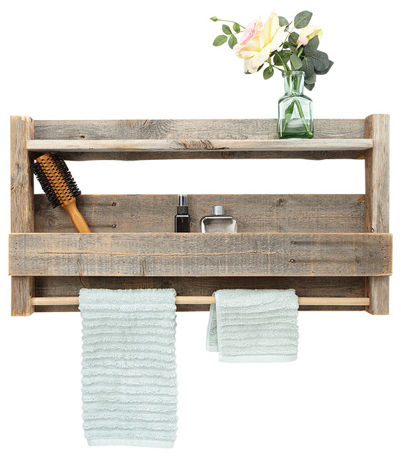 reclaimed wood bathroom shelf farmhouse bathroom