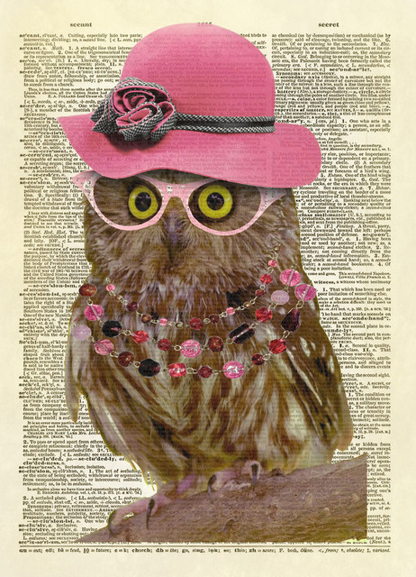 7a75842f5 Lady Owl With Pink Hat Dictionary Art Print, Full Color