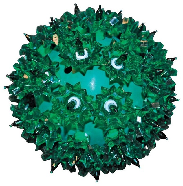 """Holiday Bright Light Battery Operated Led Spheres Green Bulbs, 6""""."""
