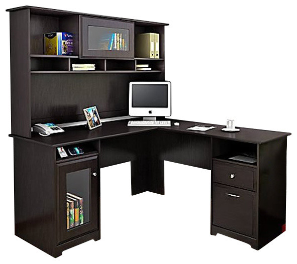 Bush Cabot LShape Computer Desk with Hutch in Espresso Oak