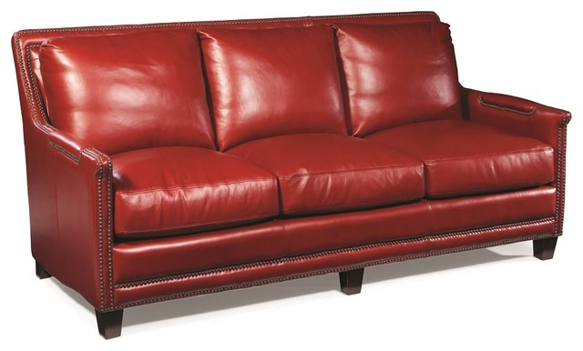 Red Leather Sofa Nailheads Traditional Sofas