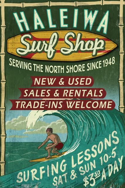 Quot Haleiwa Hawaii Surf Shop Vintage Sign Quot Print Beach