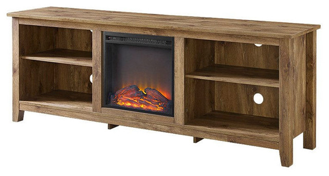 Barnwood 70 Tv Stand Electric Fireplace Space Heater Transitional