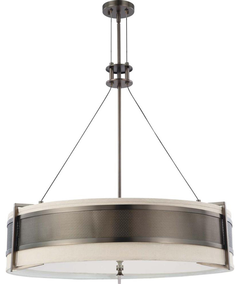 Polished Nickel Energy Star Vertical Pendant With Slate Gray Fabric Shade