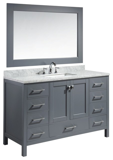 London 54 Single Sink Vanity Set in Gray Finish by Design Elements