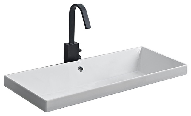Rectangular Small White Ceramic Drop In Sink, No Hole