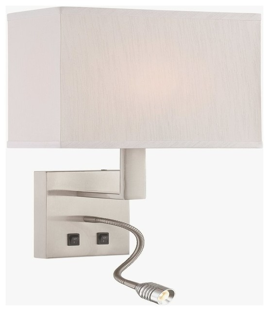 Columbo 2-Light Wall Sconce Polished Steel Off-White Fabric Sha. -1