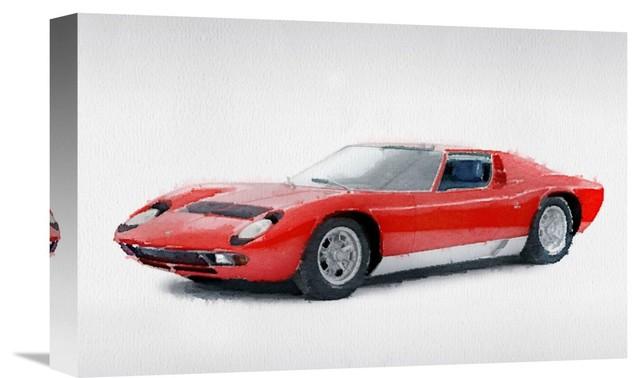 1969 Lamborghini Miura P400 S Watercolor Fine Art Print Modern