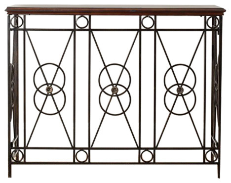 Safavieh Dustin Dark Brown; Metal Color: Bronzed Consoles - Amh4109a.