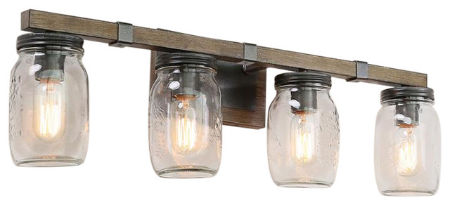 4 Light Farmhouse Vanity Lights Traditional Mason Jar Faux Wood Eclectic Bathroom Vanity Lighting By Lnc Houzz