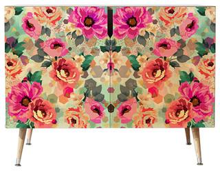 "Marta Barragan Camarasa Abstract Geometrical Flowers Credenza, 38""x20"""