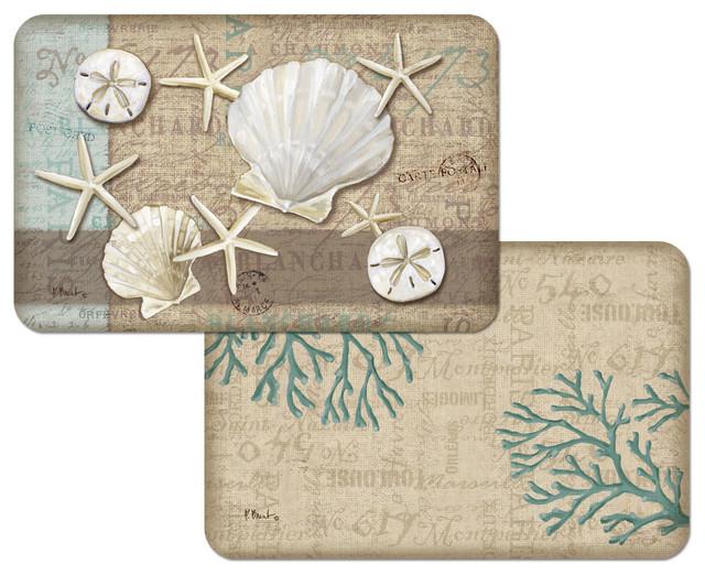 coastal beach seashell vinyl plastic placemats