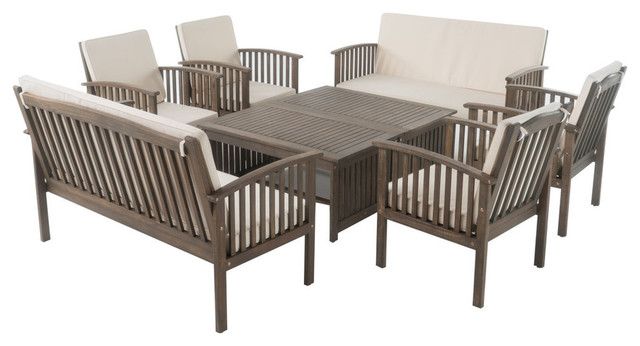 Remarkable Gdf Studio 8 Piece Beckley Gray Finish Acacia Chat Set Caraccident5 Cool Chair Designs And Ideas Caraccident5Info