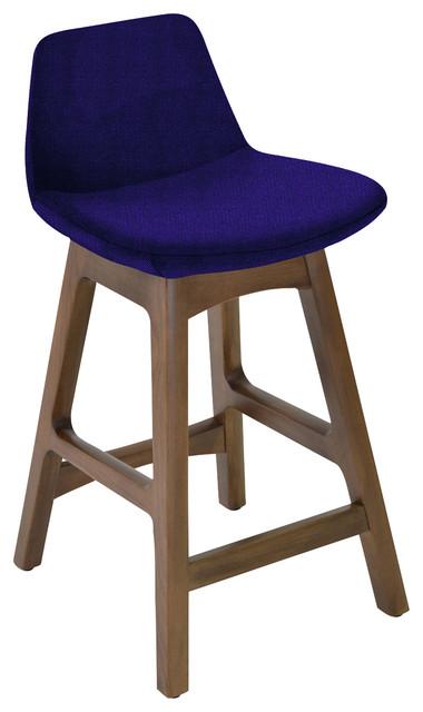 Marvelous Pera Wood Counter And Bar Stool American Walnut Base Dark Blue Fabric Oslo Inzonedesignstudio Interior Chair Design Inzonedesignstudiocom