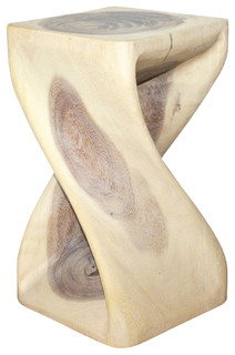 Shop Houzz | Haussmann Inc. Monkey Pod Wood Twist Stool, Agate Gray - Accent And Garden Stools