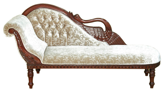 Solid Mahogany Cherry Swan Chaise Lounge  Mozart Foliage Fabric victorian-indoor-chaise-  sc 1 st  Houzz : swan chaise - Sectionals, Sofas & Couches