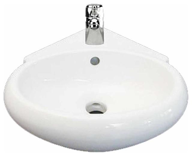 White Corner Bathroom Wall Mount Sink Vessel Counter Gloss