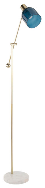 Lumisource Marcel Floor Lamp, White Marble, Gold Metal and Blue Glass
