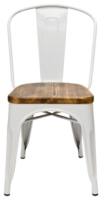 Bastille Cafe Stacking Chairs With Wood Seat, White, Set of 2