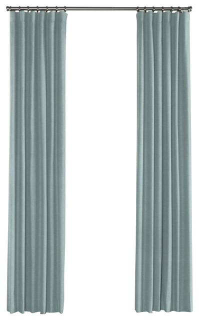 Muted Aqua Linen Curtain, Single Panel, Ring Top
