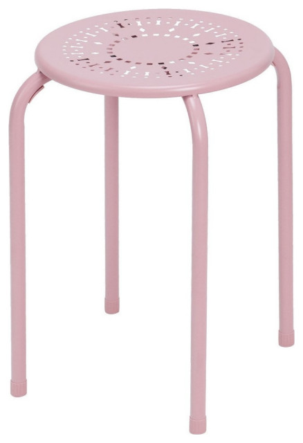 Set of 6 Stackable Daisy Backless Round Metal Stool Set-Black