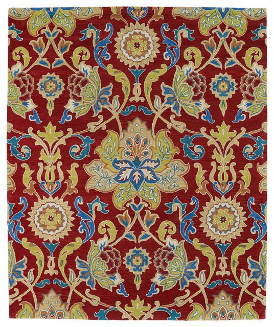 Kaleen Helena Turquoise Rug: Kaleen Hand Tufted Taj Red Wool Rug