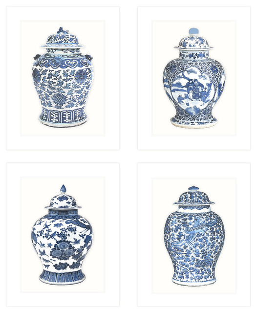 Set Of 4, Blue & White Ginger Jar 8x10 Prints On Archival Watercolor.
