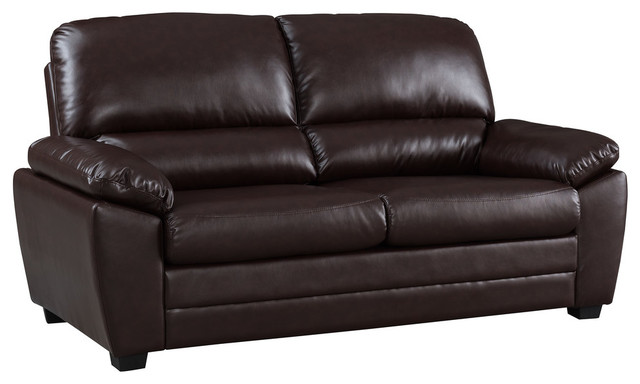 Cary Faux Leather Sofa, Dark Brown, 71\