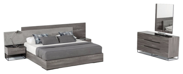 Nova Domus Enzo Italian Gray Walnut 5-Piece Bedroom Set, Eastern King.