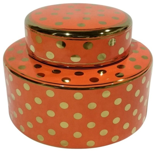 Sagebrook Home Orange/Gold Polka Dot Jar 6.5""