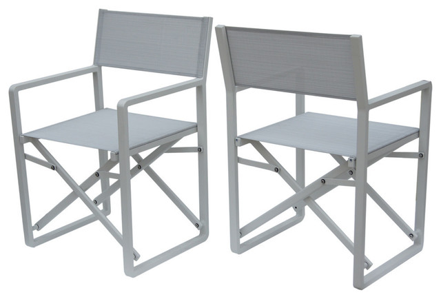 Gdf Studio Finn Indoor Mesh And Aluminum Director Chairs Set Of 2 Contemporary Outdoor Folding By Gdfstudio