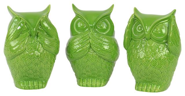 Ceramic Owl No Evil Figurines, 3-Piece Set, Lime Green