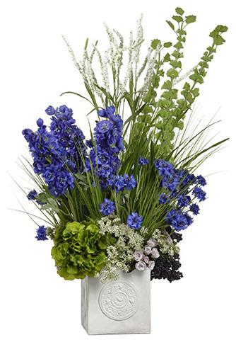 Silk Plants Direct Delphinium Hydrangea Bells Of Ireland Set 1