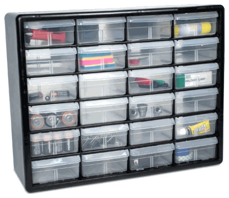 The Black Hardware Storage Cabinet with 24 Drawers - Traditional - Garage And Tool Storage - by ...