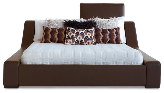 london leather platform bed king brown