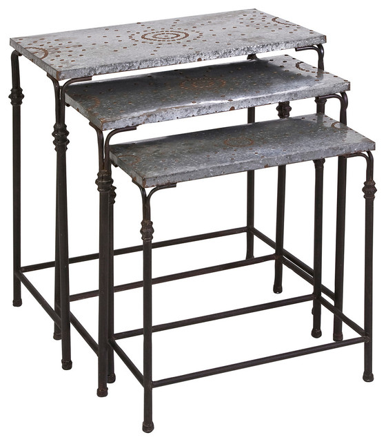 Gilbert Galvanized Nesting Tables, 3 Piece Set Industrial Side Tables And