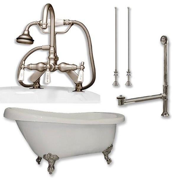 "61"" Slipper Clawfoot Tub Gooseneck Faucet Plumbing, ""maries"", Brushed Nickel."