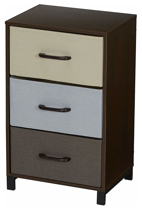 Modern Dresser Chest, Mahohany Finished Wood Frame With 3 Storage Drawers