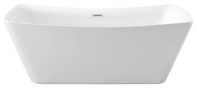 "62"" Streamline N-540-62fswh-Fm Soaking Freestanding Tub With Internal Drain."