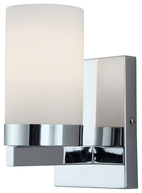Canarm Milo 1-Light Vanity With Flat Opal Glass in Chrome, Easy Connect