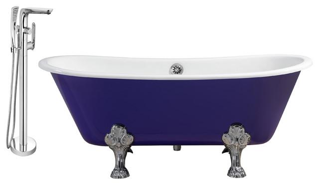 """Streamline 67"""" Faucet/cast Iron Tub Set, Chrome Popup Drain, Showerhead H-120."""