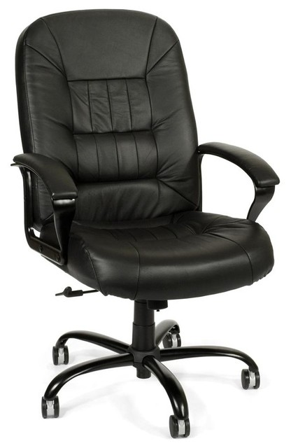 Big & Tall Black Leather Swivel Desk Chair w Padded Arms