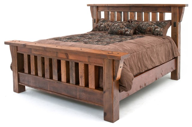 barnwood mission bed queen rustic panel beds