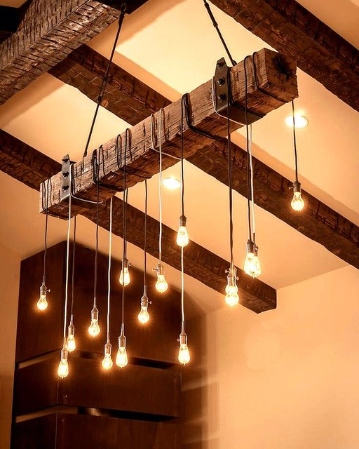 reclaimed wood beam chandelier rustic chandeliers by