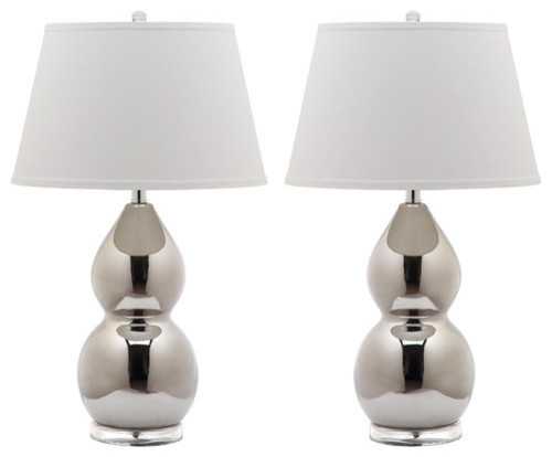 Jill Double Gourd Ceramic Lamps, Set Of 2, Silver With White Shade.